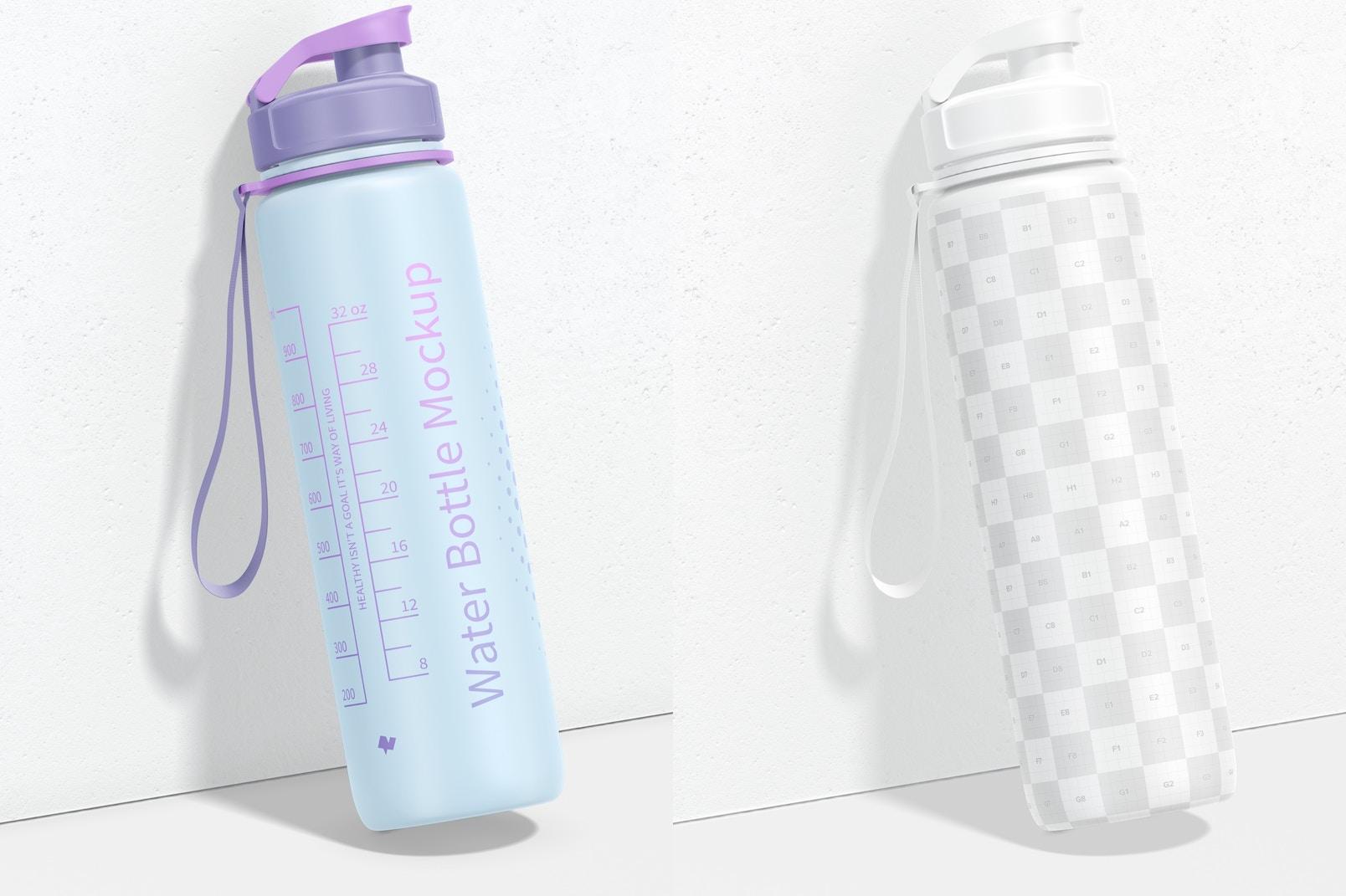 32 oz Water Bottle Mockup, Leaned