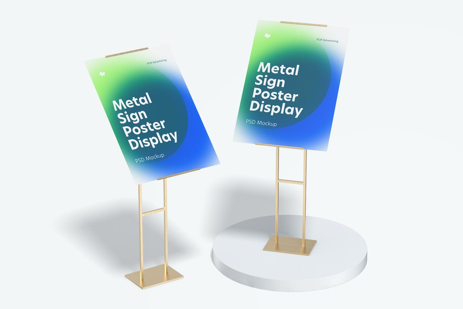 Metal Signs Poster Floor Display Mockup, Perspective