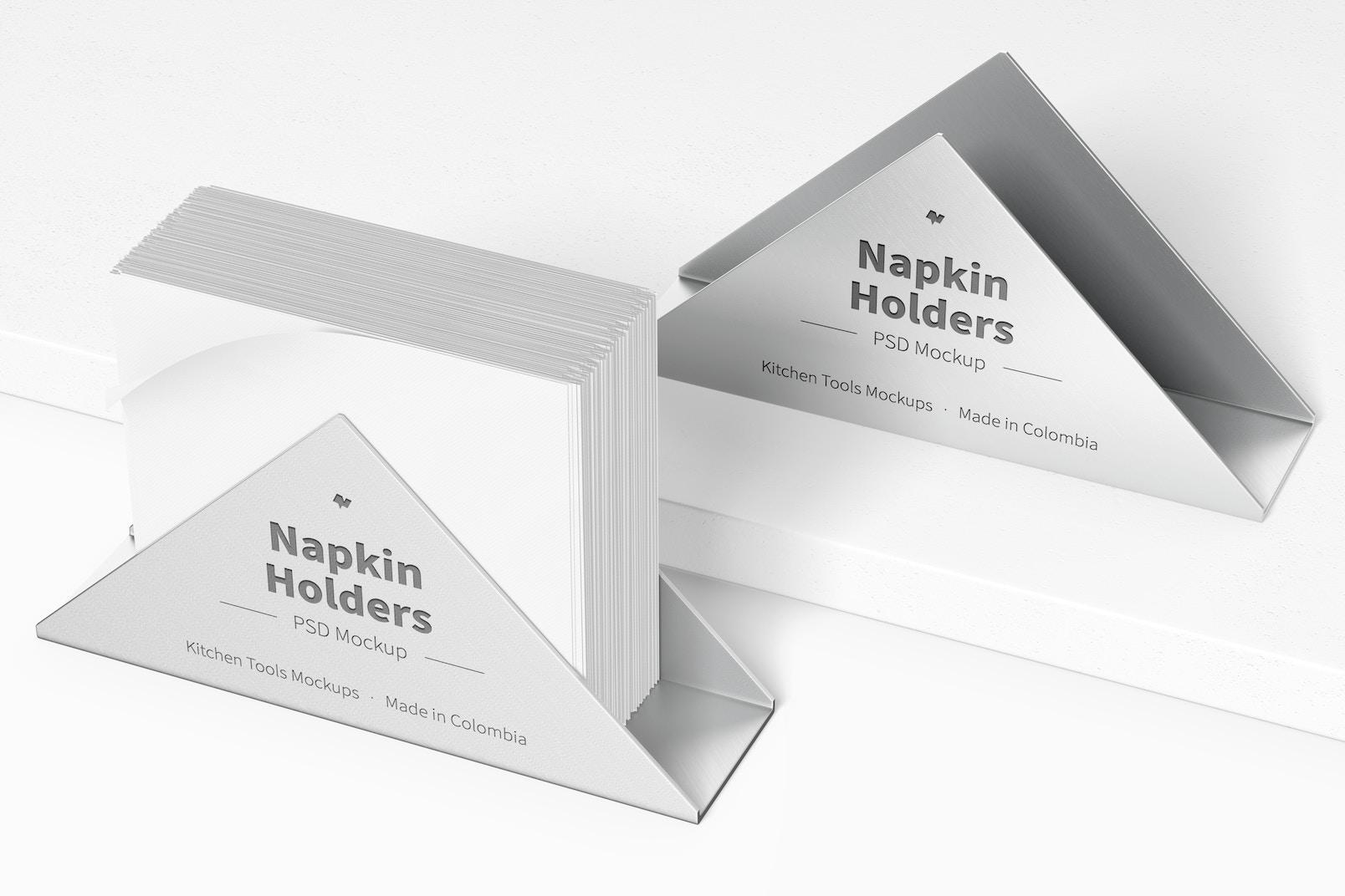 Napkin Holders Mockup, Perspective View