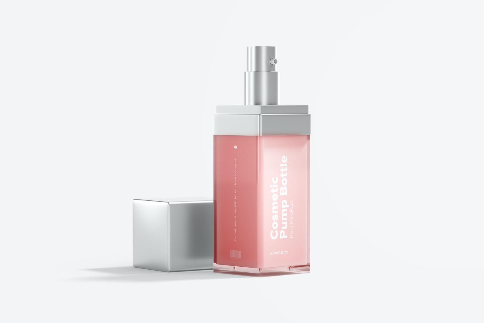 Cosmetic Pump Bottle Mockup, Opened
