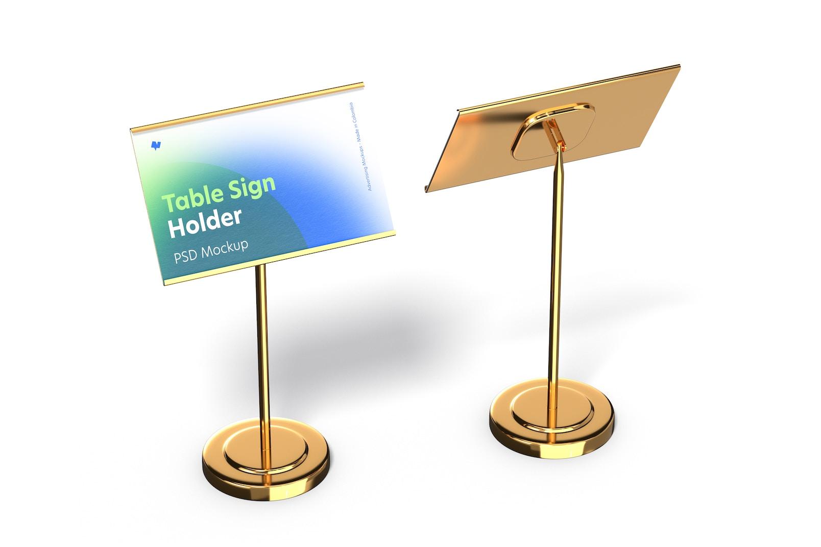 Table Sign Holders Metallic Base Mockup, Perspective