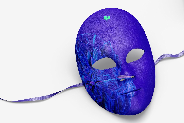 Plain Venetian Full-Face Masks Mockup, Left View