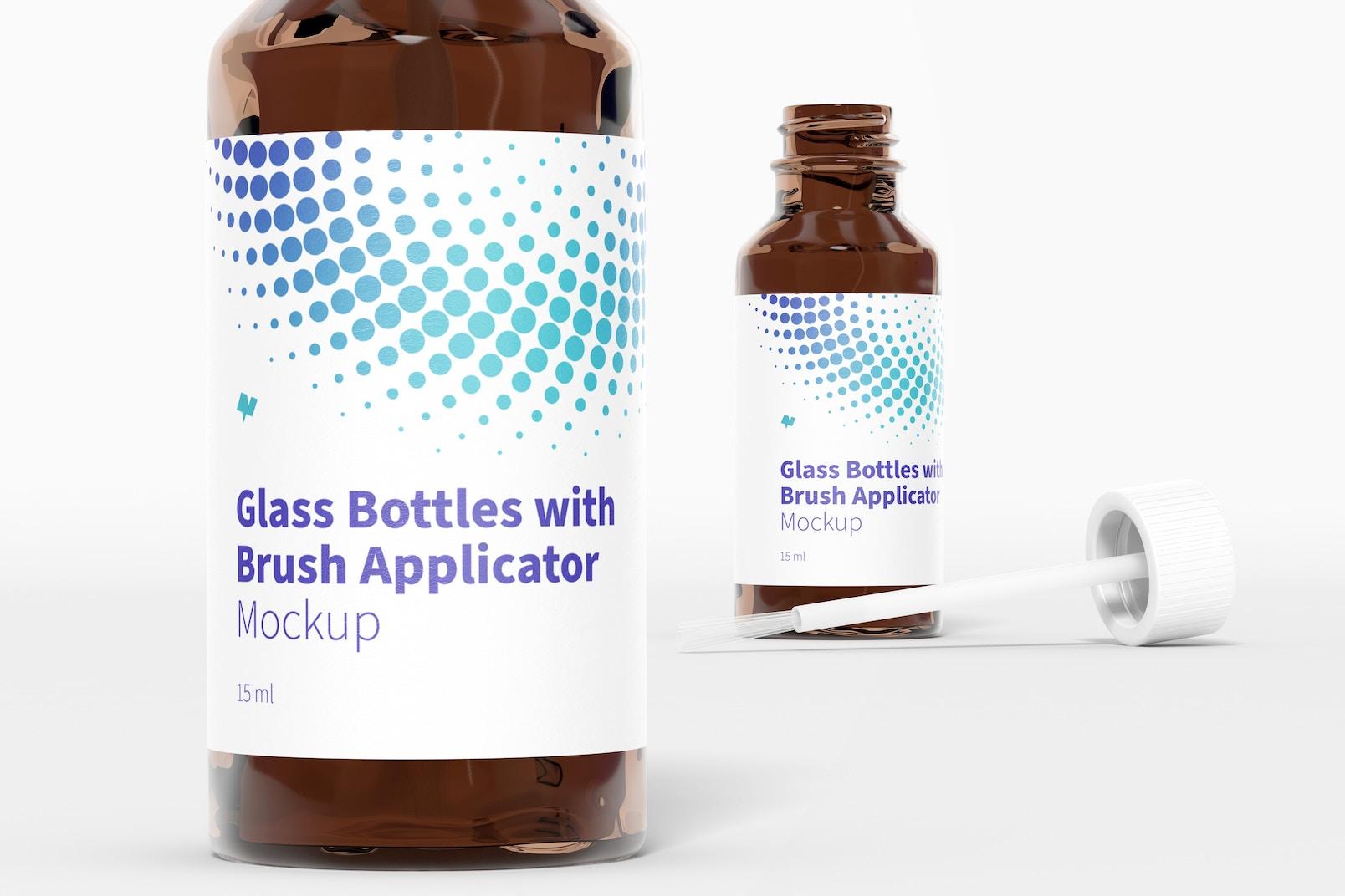 Glass Bottles with Brush Applicator Mockup, Close-Up