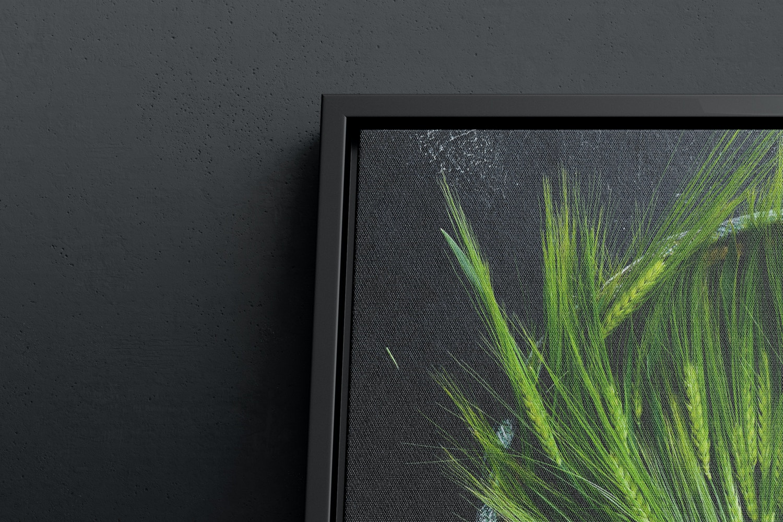 3:2 Landscape Canvas Mockup in Floater Frame, Bottom Front View