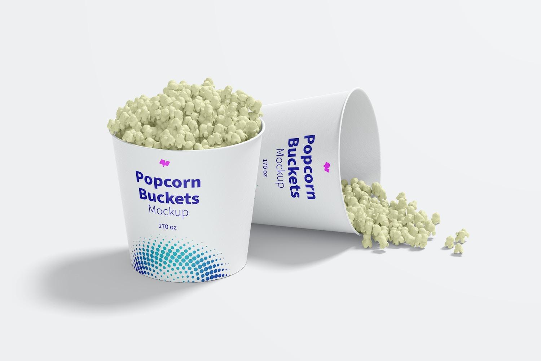 170 oz Popcorn Buckets Mockup, Left View
