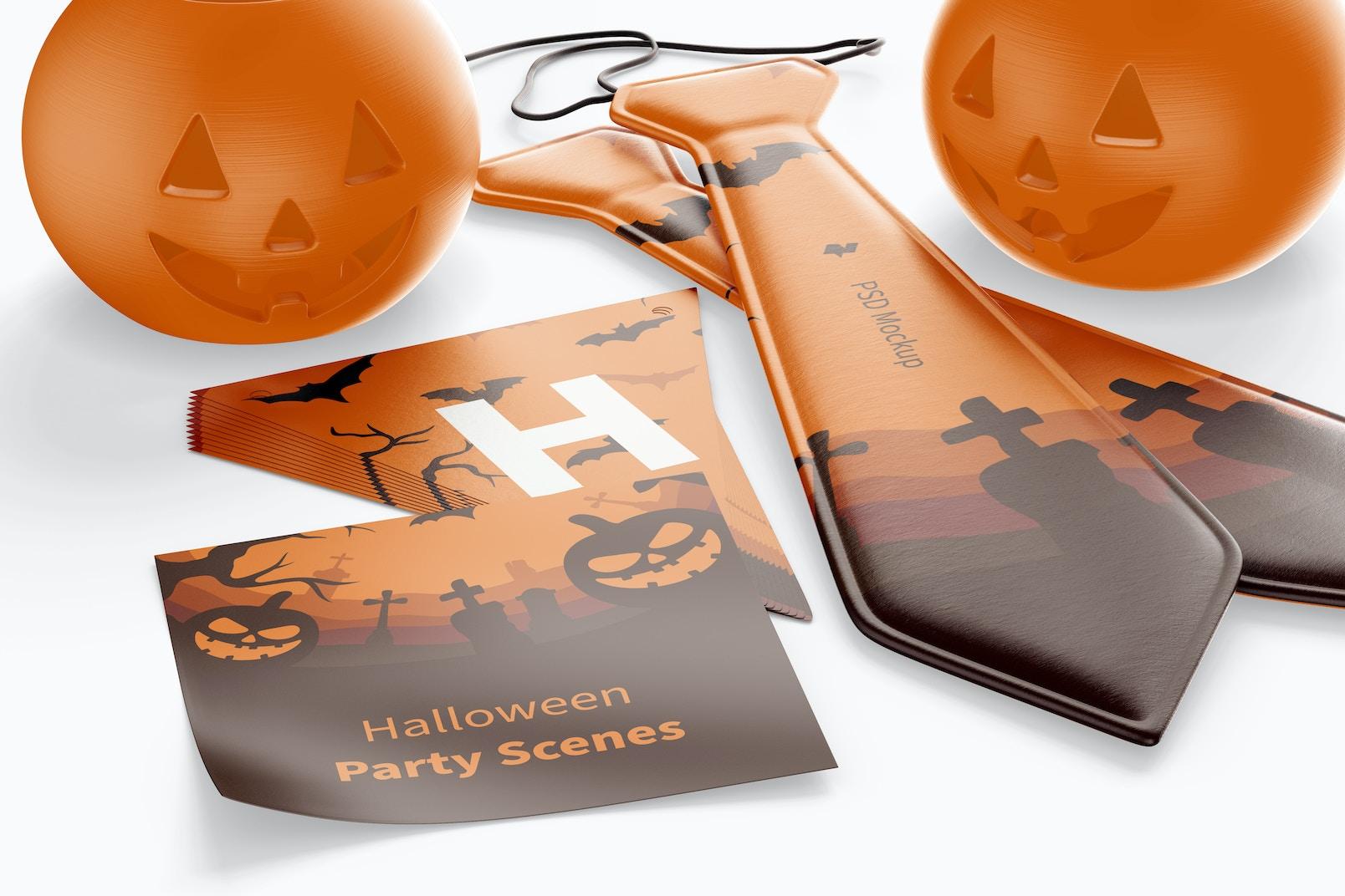 Halloween Party Scene Mockup, Close Up