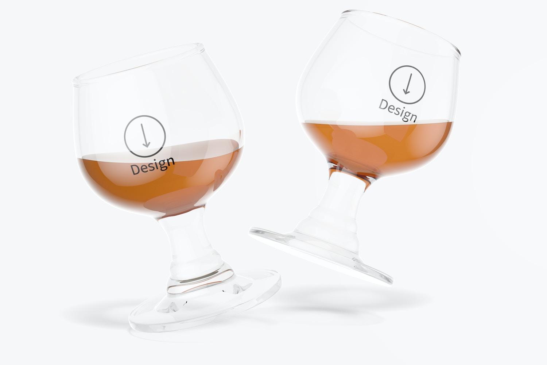 1.7 oz Glass Brandy Cups Mockup