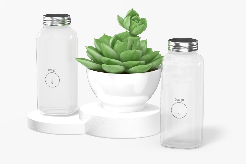 12 oz Glass Bottles Mockup, Floating