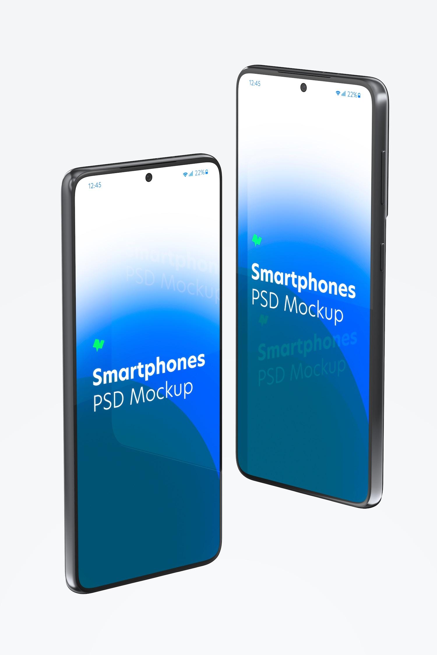 Maqueta de Samsung S21, Vista de Lado Izquierdo y Derecho