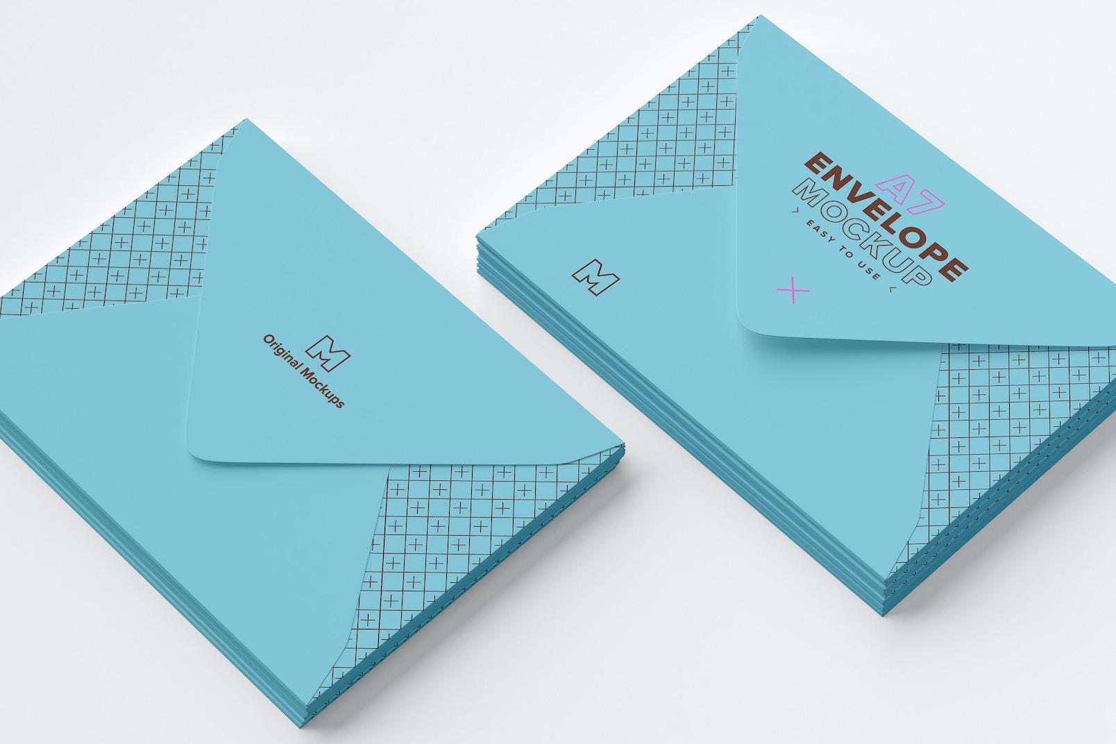 Maqueta de pila de sobre tamaño A7