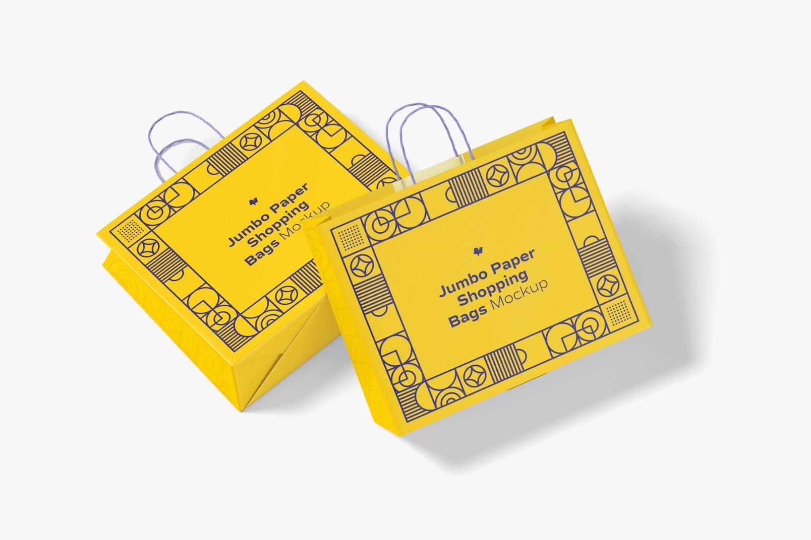 Jumbo Paper Shopping Bags Mockup, Top View