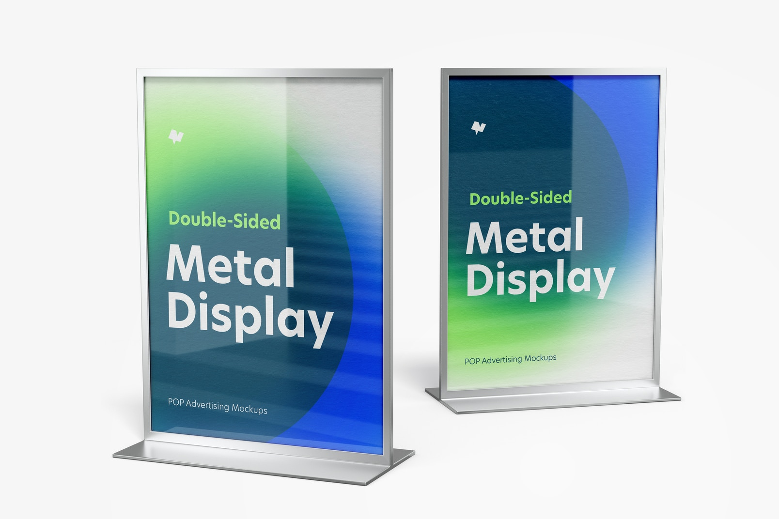 Double-Sided Poster Metal Desktop Displays Mockup