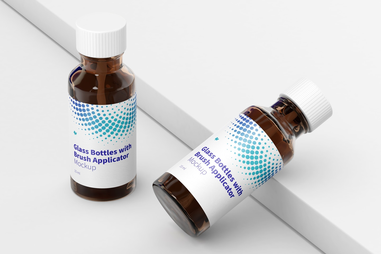 Glass Bottles with Brush Applicator Mockup, Left View