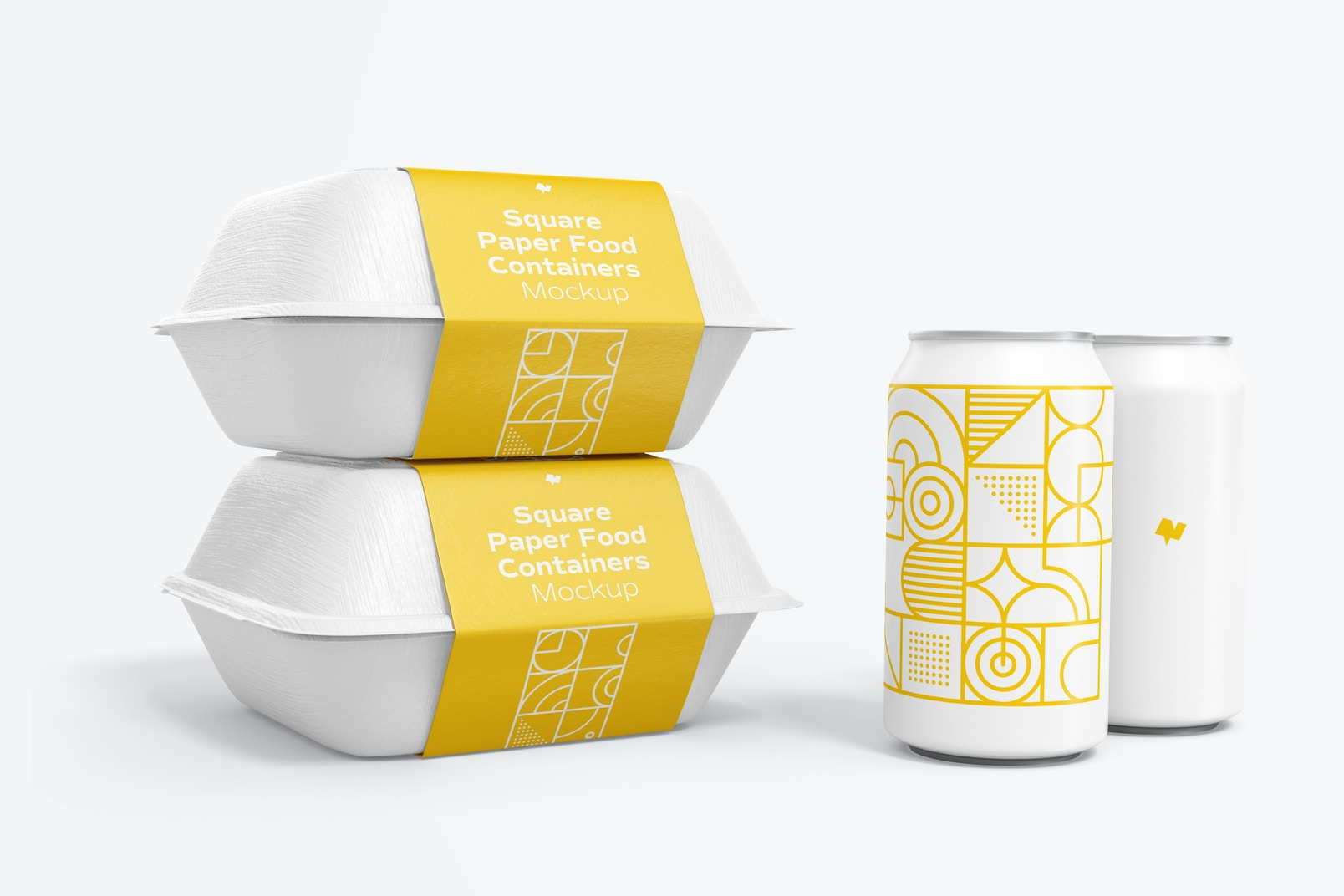 Square Paper Food Containers Set Mockup with Can