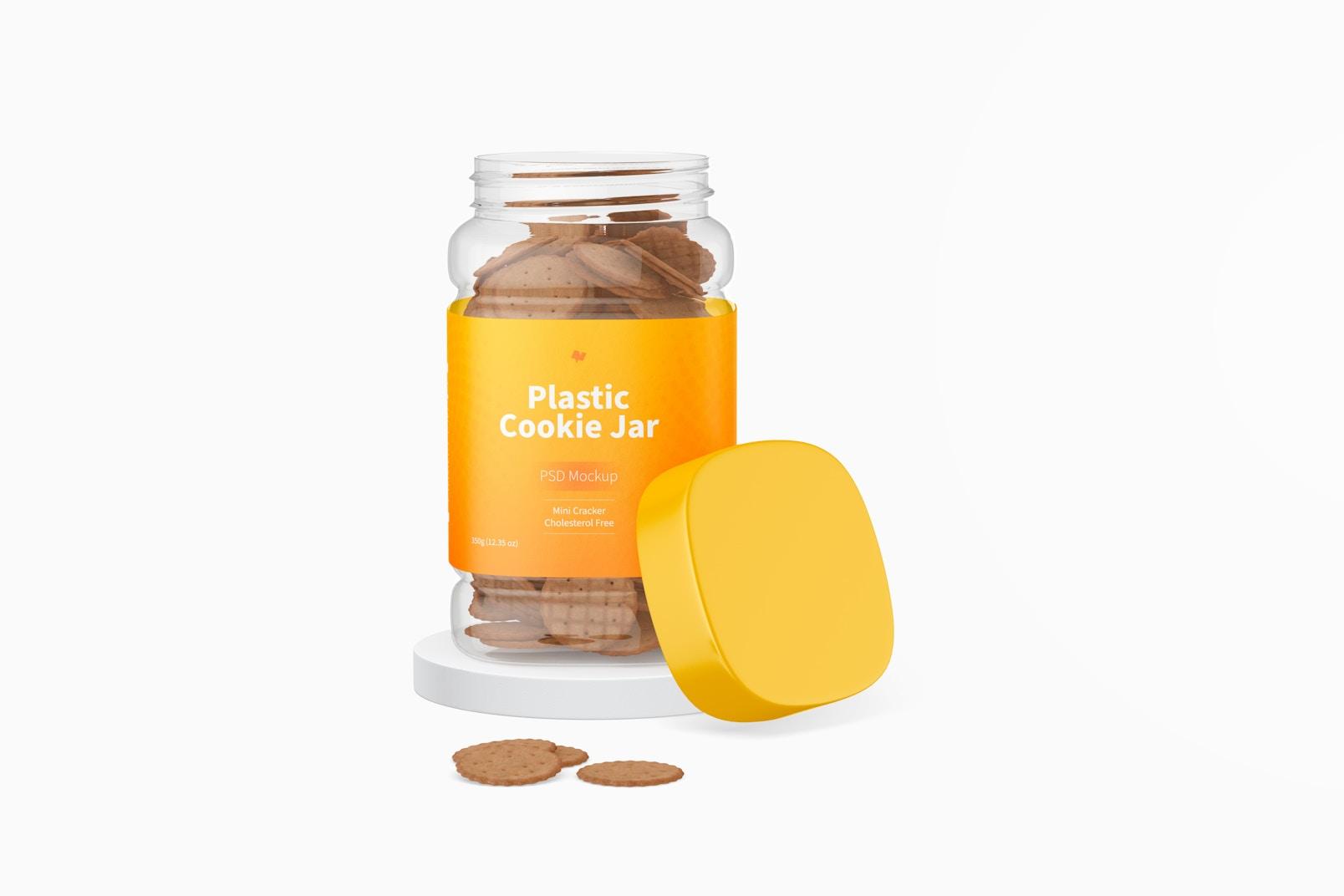 Plastic Cookie Jar Mockup, Opened