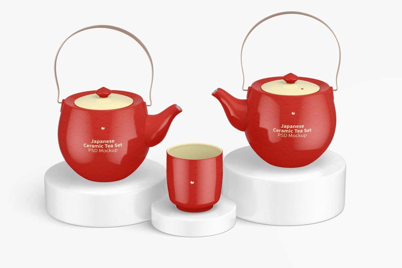 Japanese Ceramic Tea Set Mockup 02
