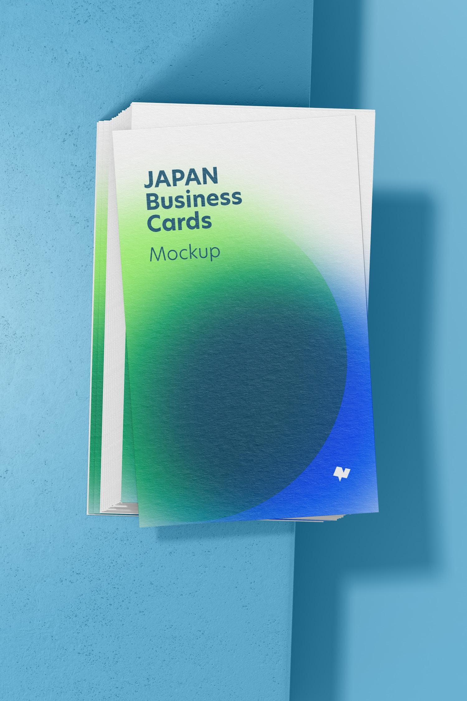 Japan Portrait Business Cards Mockup, Top View