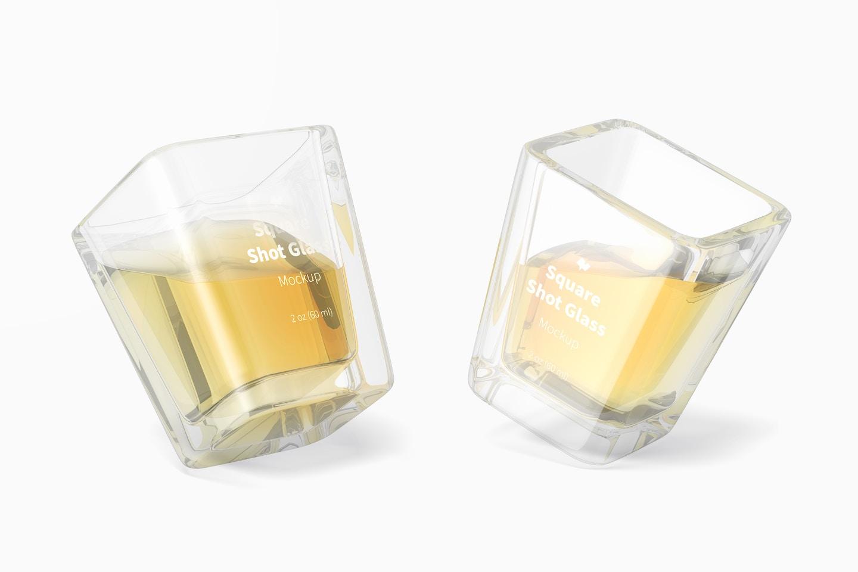 Square Shot Glasses Mockup, Leaned