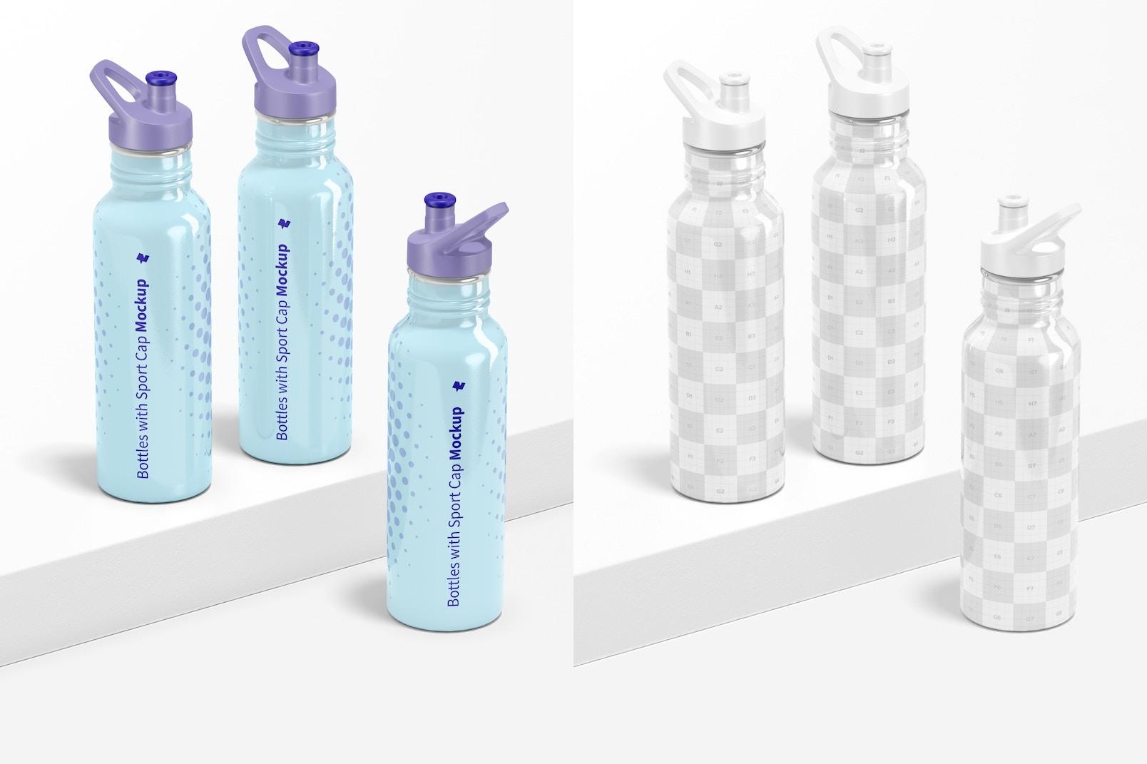 Bottles with Sport Cap Mockup