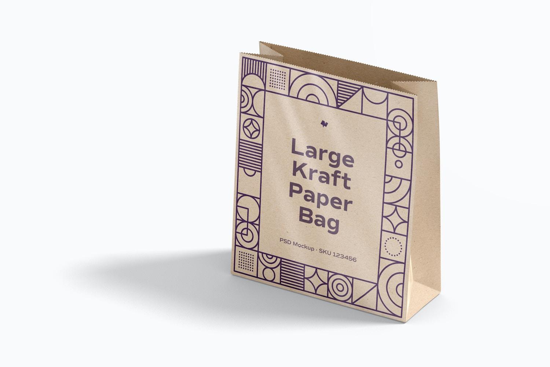 Large Kraft Paper Bag Mockup, Perspective View