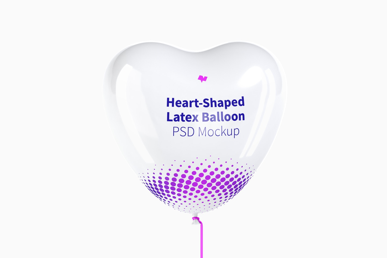 Heart-Shaped Latex Balloon Mockup