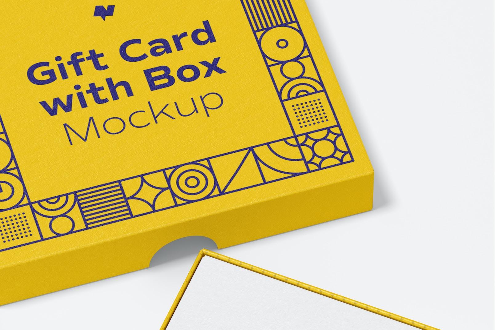 Gift Card with Box Mockup, Close-Up