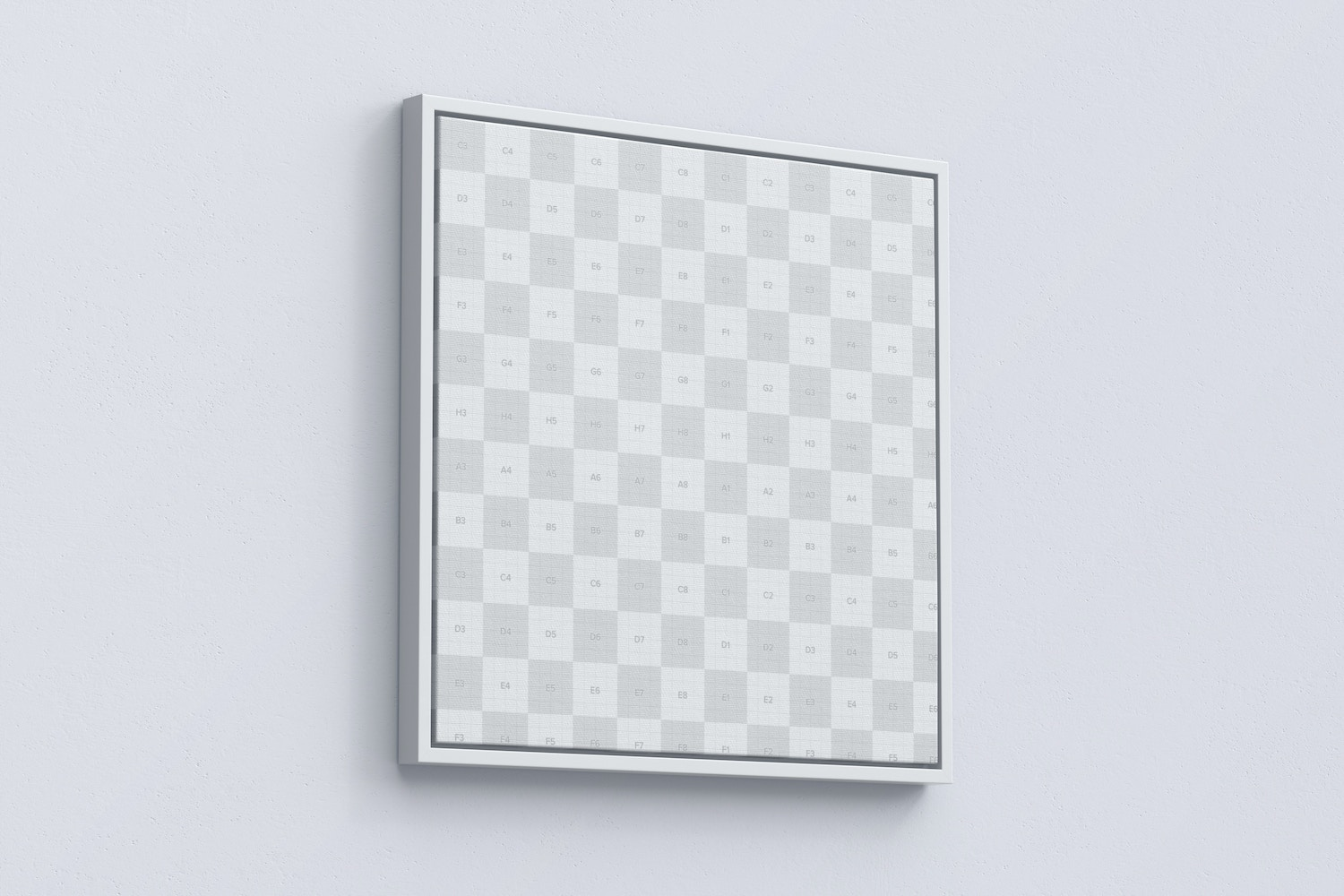 1:1 Square Canvas Mockup in Floater Frame, Left View