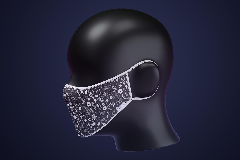 Face Mask Mockup, Left Side View