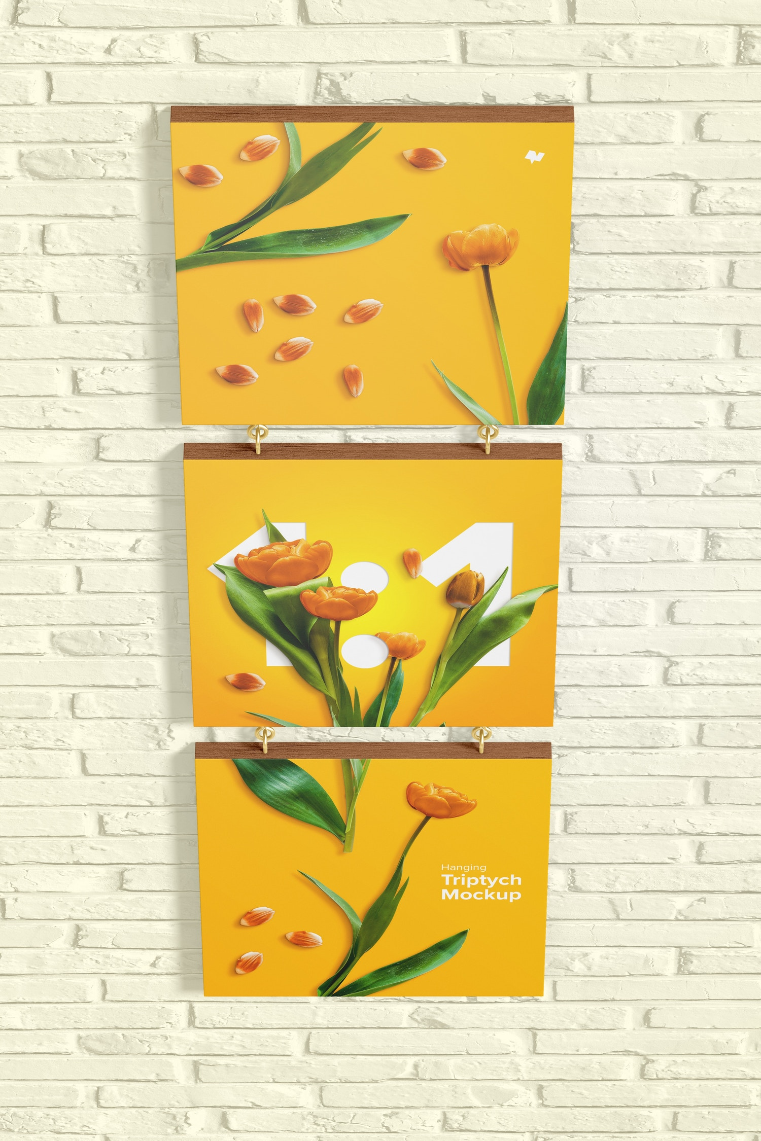 1:1 Hanging Triptych Mockup, Top View