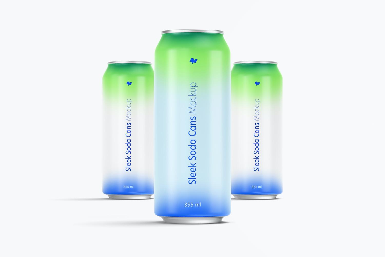 355 ml Sleek Soda Cans Mockup, Front View