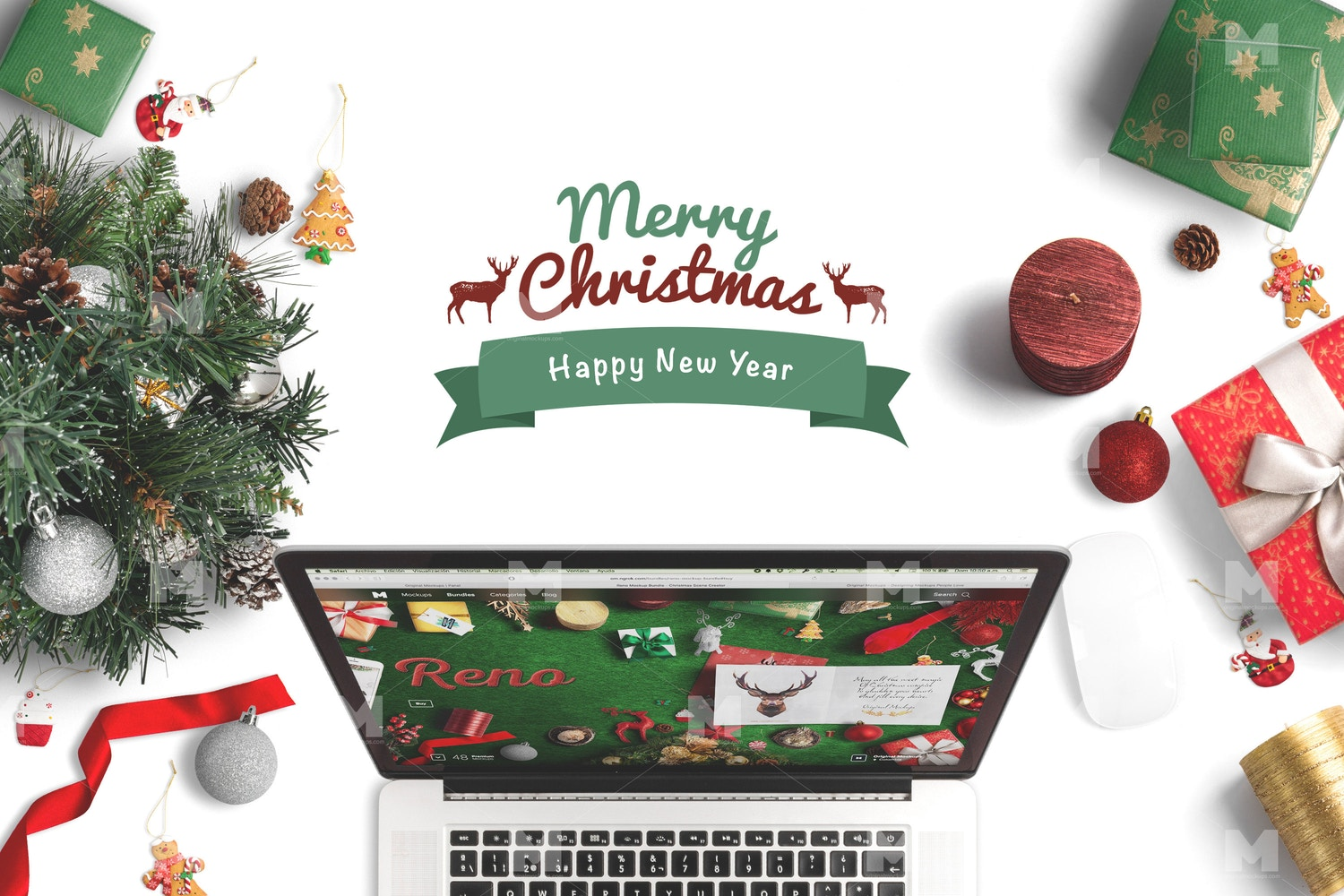 Christmas Header And Hero Scene Mockup 09