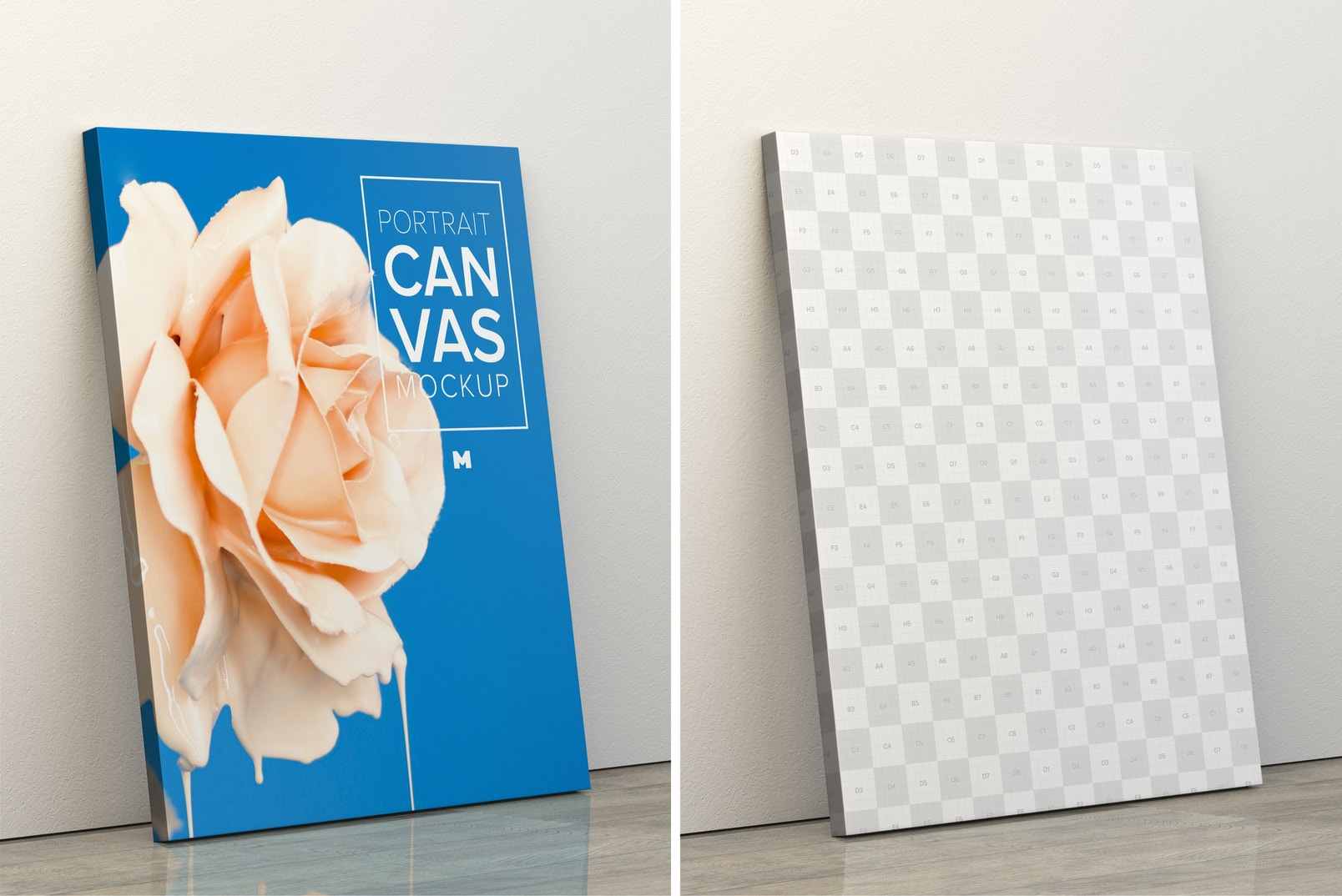 Portrait Canvas Frame Mockup Leaning on Wall