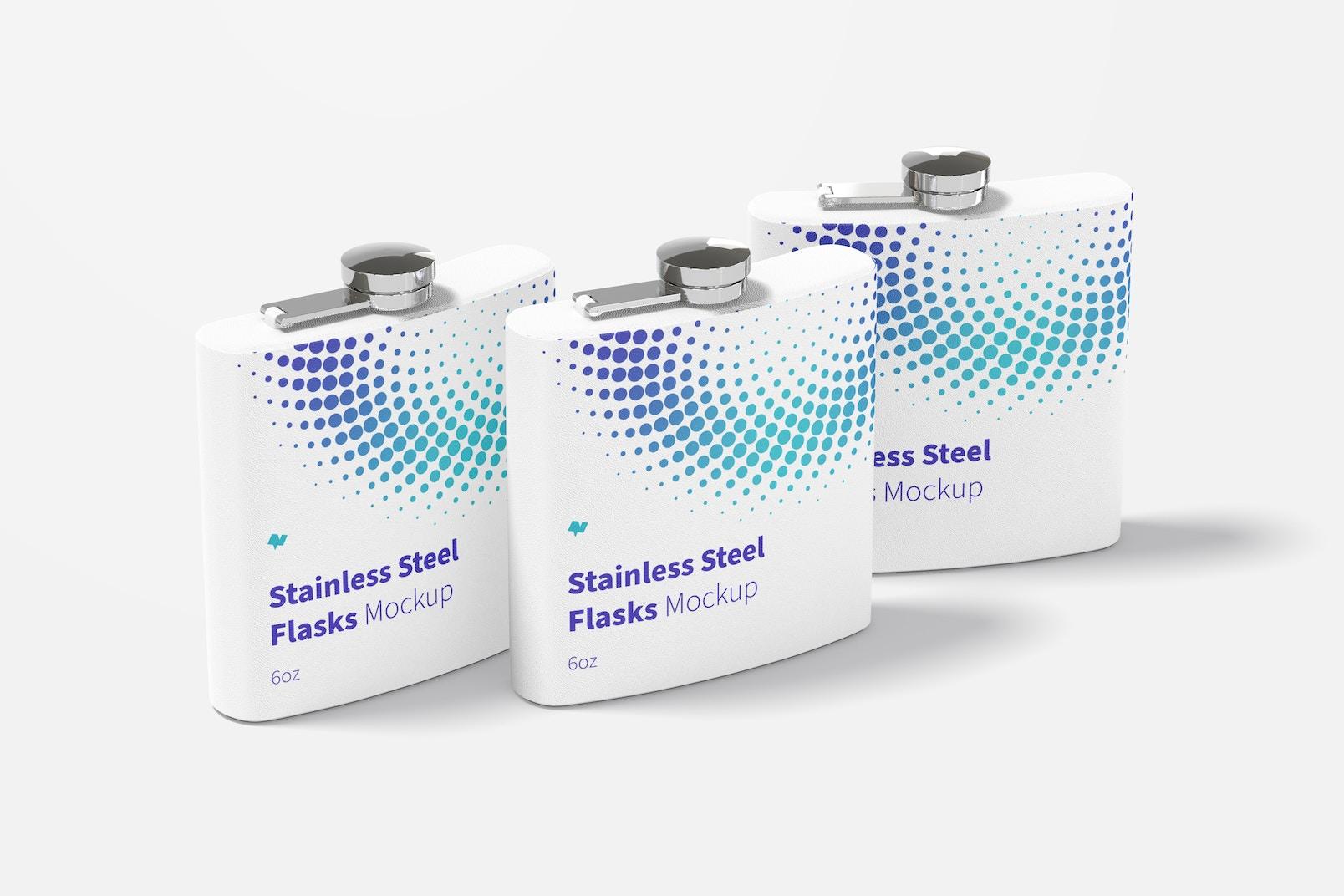 Powder Coated Stainless Steel Flasks Set Mockup