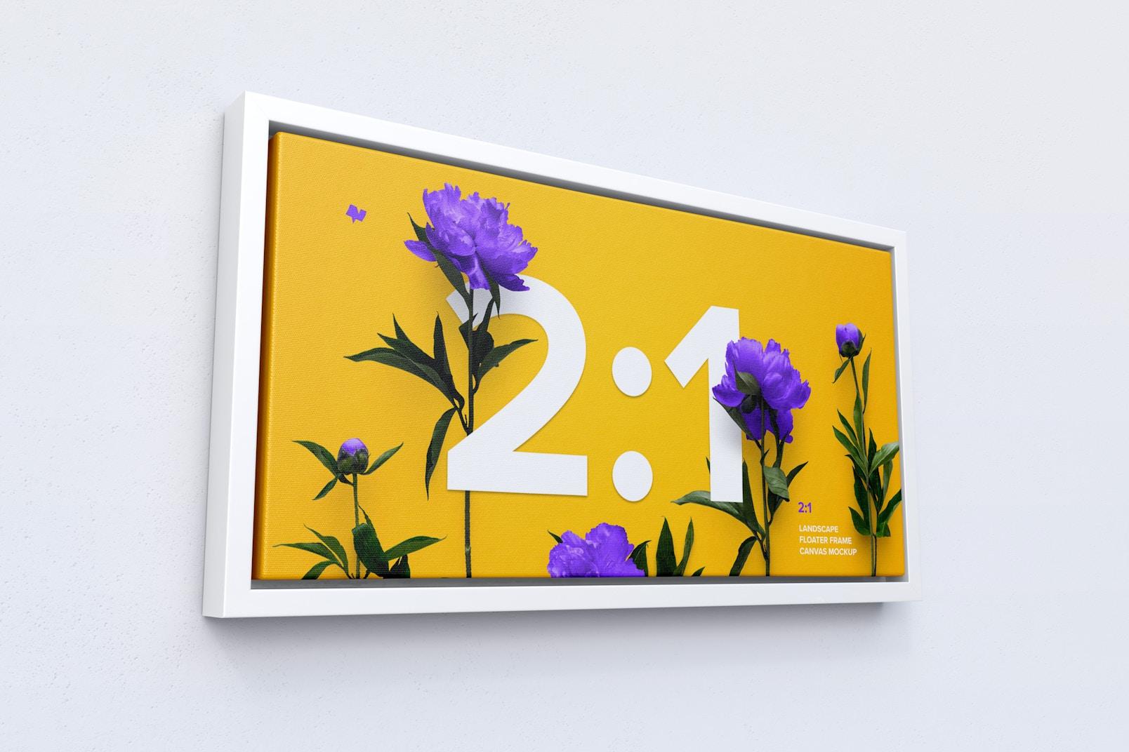 2:1 Landscape Canvas Mockup in Floater Frame, Left View