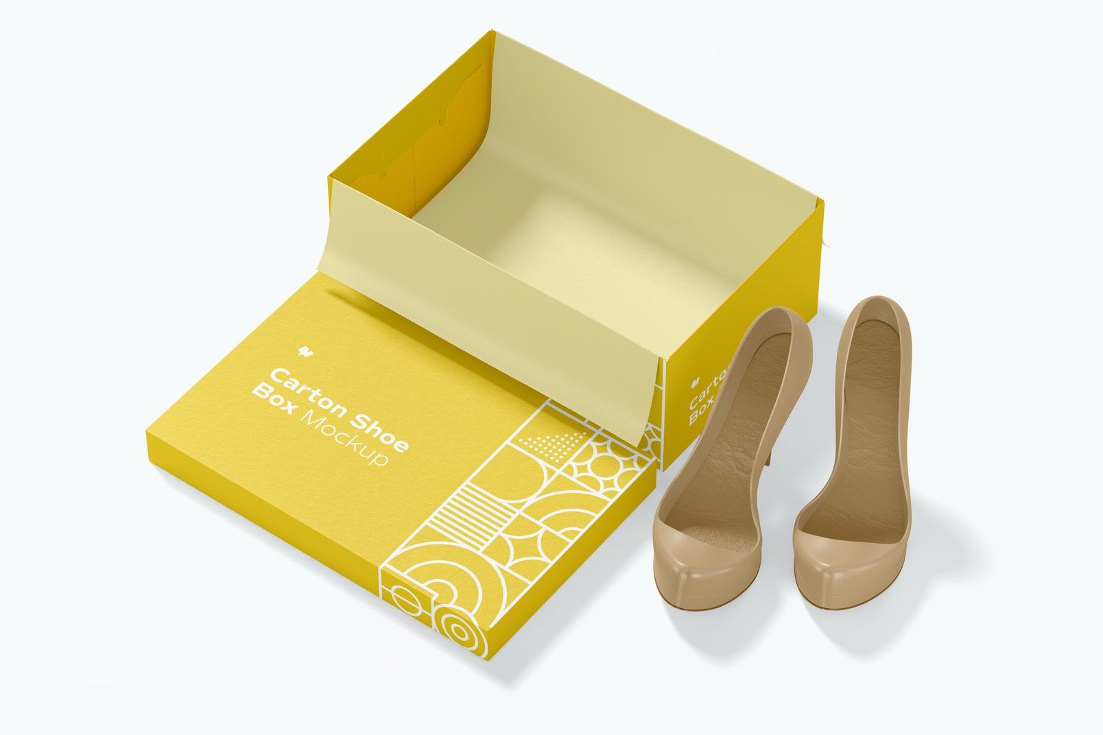 Carton Shoe Box Mockup, Top View