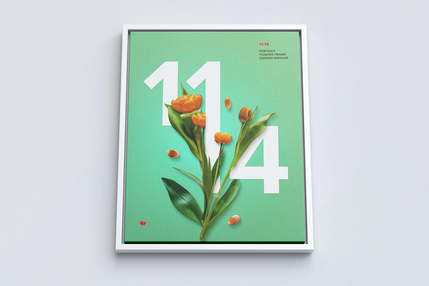 11:14 Portrait Canvas Mockup in Floater Frame, Bottom Front View