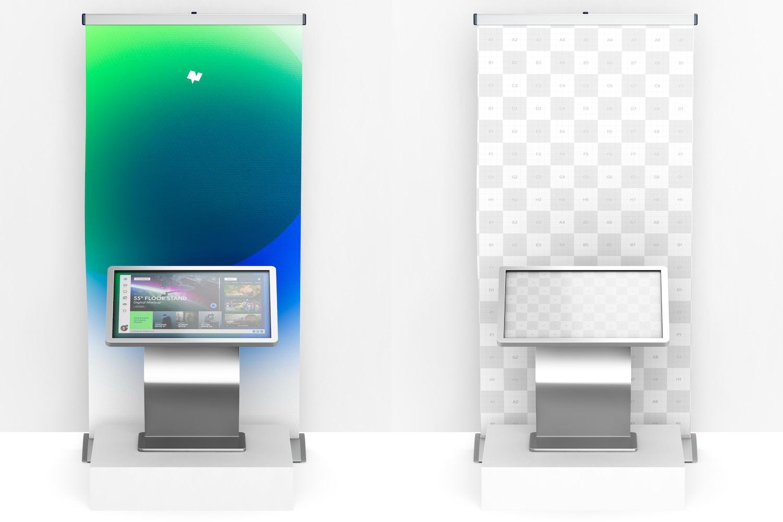 "55"" Floor Stand Digital Mockup, Front View"