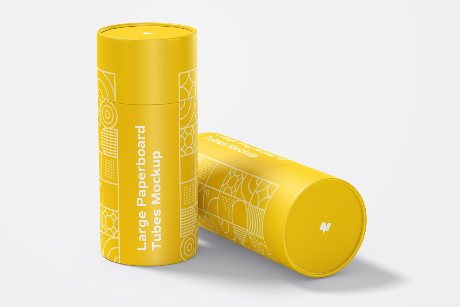 Large Paperboard Tubes Mockup, Standing and Dropped