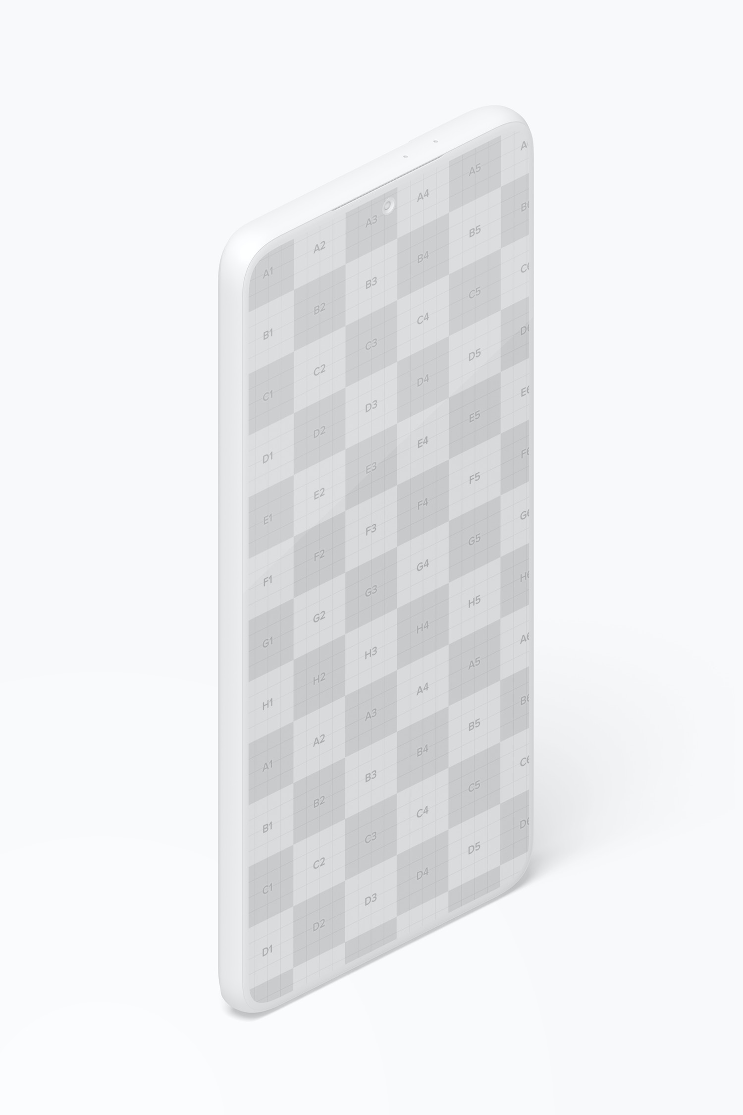 Isometric Clay Samsung S21 Mockup, Portrait Left View