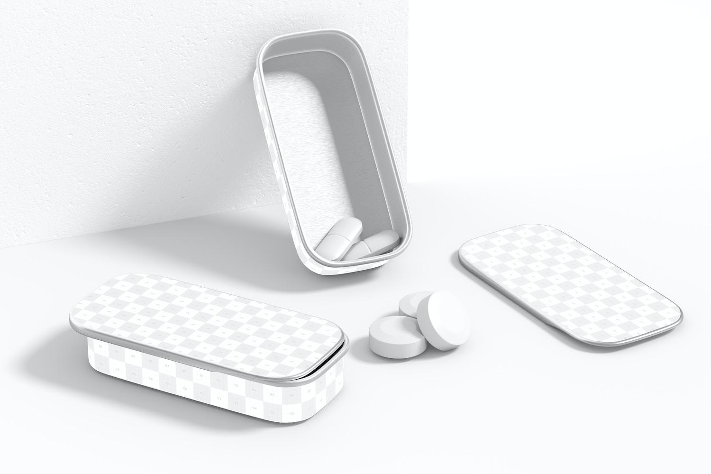 Metal Slide Top Tin Pills Containers Set Mockup