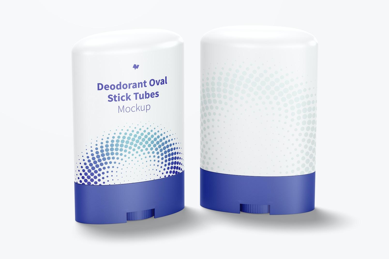 Deodorant Oval Stick Tubes Mockup, Perspective