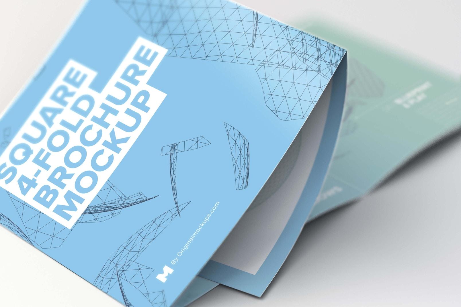 Unfolding Square 4-Fold Brochure Close Up Mockup