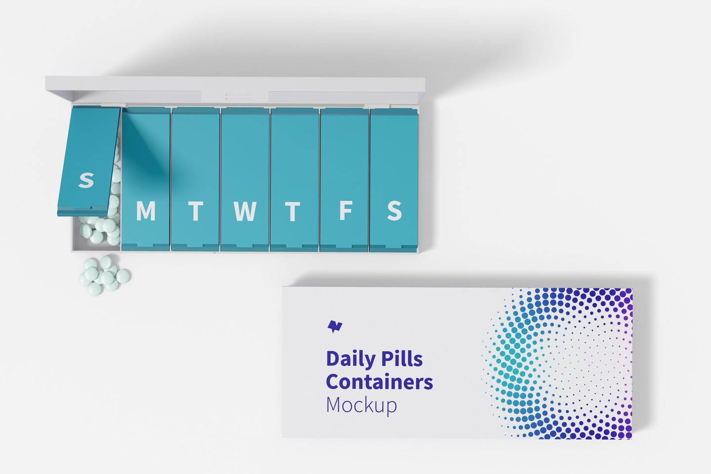 Daily Pills Containers Mockup, Top View