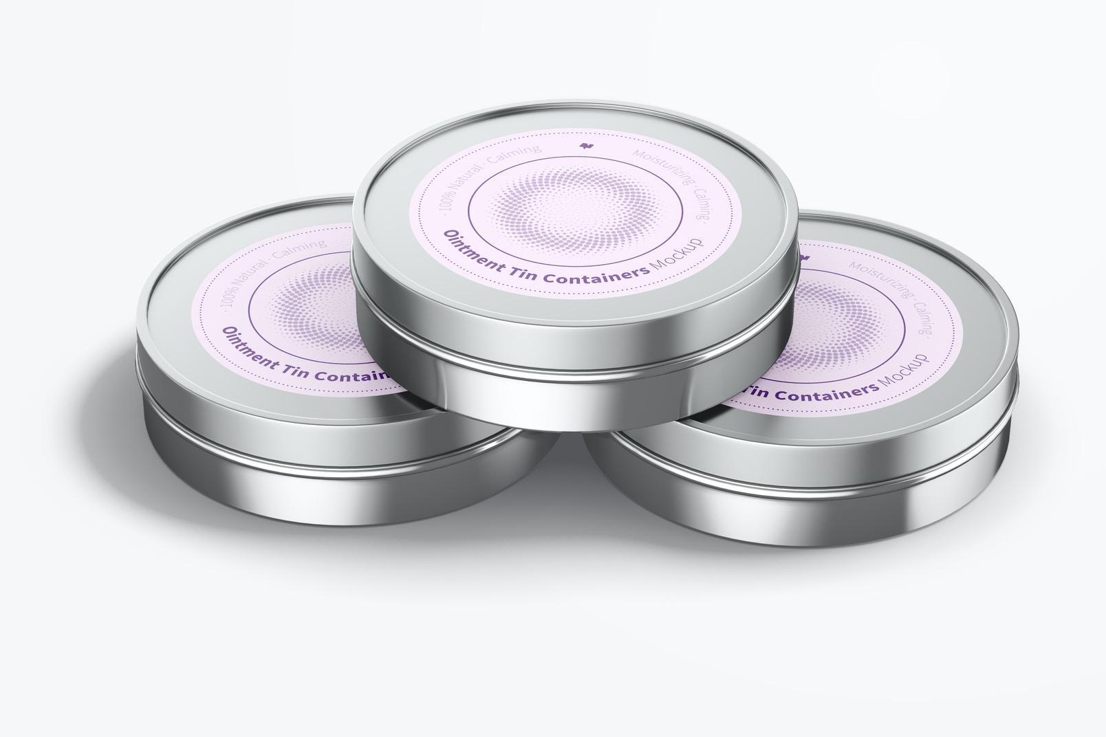 Ointment Tin Containers Mockup, Stacked
