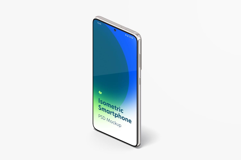 Isometric Samsung S21 Mockup, Portrait Left View