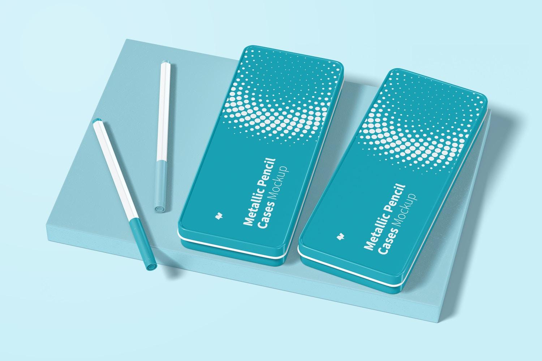 Metallic Pencil Cases Mockup, Left View