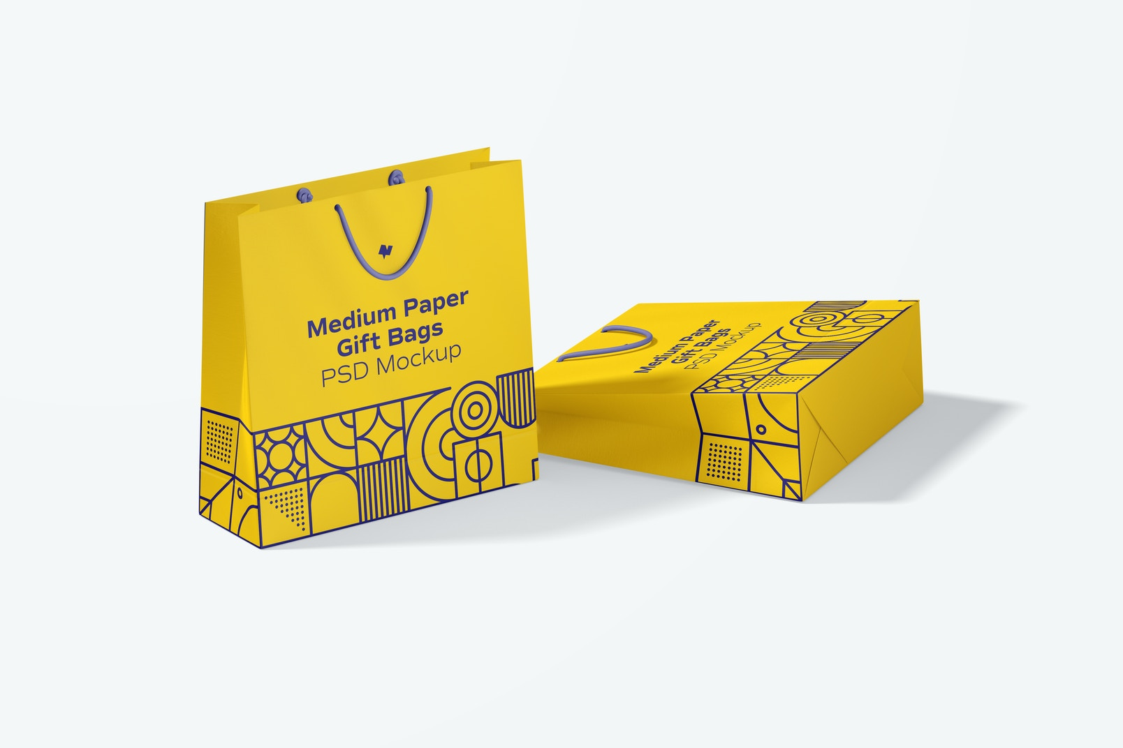 Medium Paper Gift Bags With Rope Handle Mockup