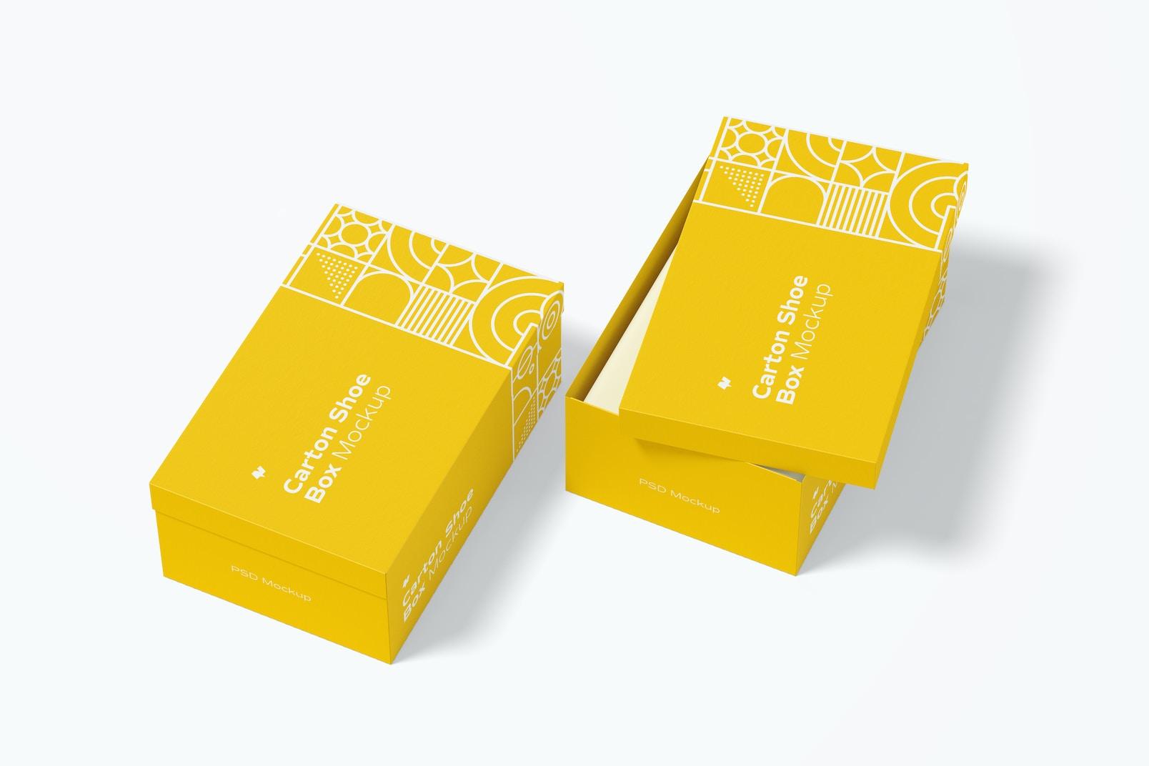 Carton Shoe Boxes Mockup, Perspective