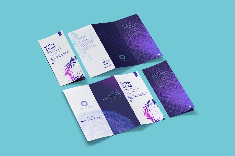 Letter Z Fold Brochure Mockup 04 (5) by Original Mockups on Original Mockups