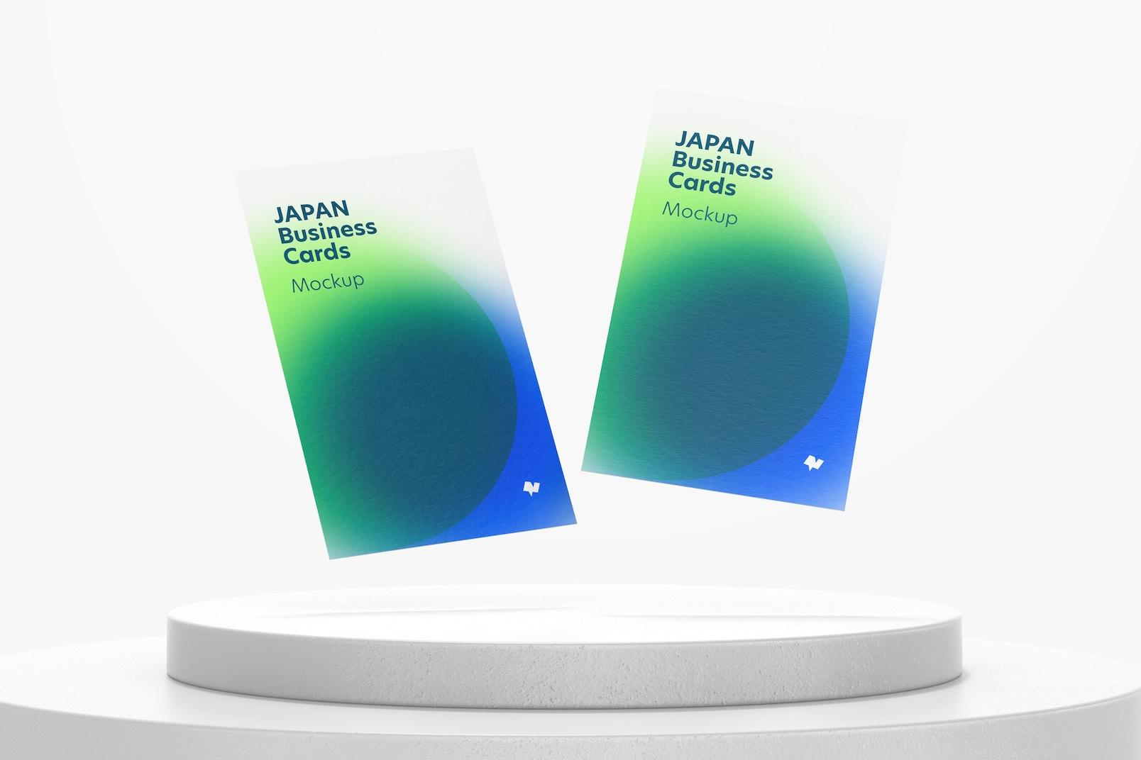 Japan Portrait Business Cards Mockup, Floating